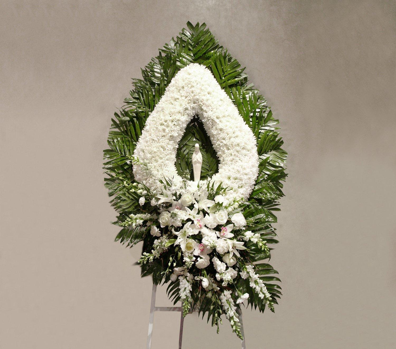 White Flower Teardrop With Madonna Lofendo Flowers