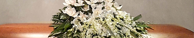 White Tropical Casket Spray