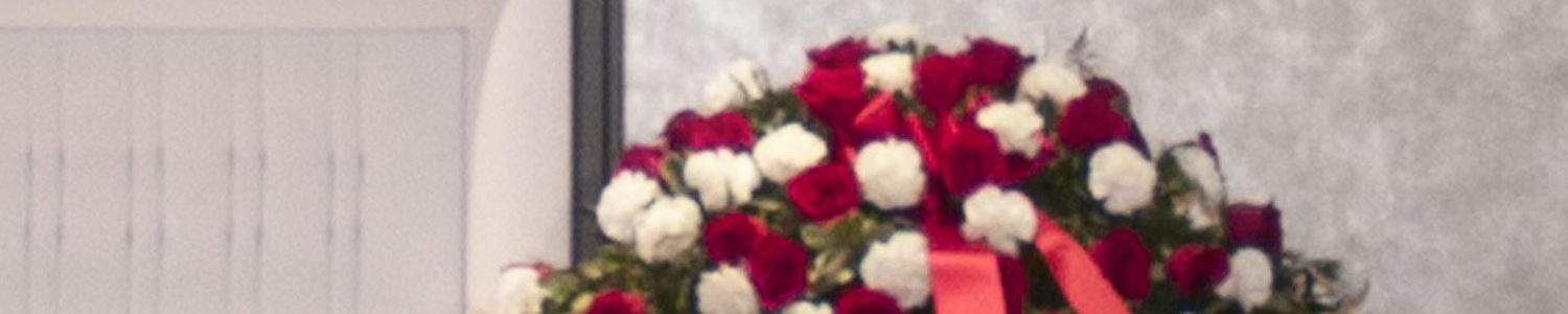 Red Rose & White Carnation Casket Spray