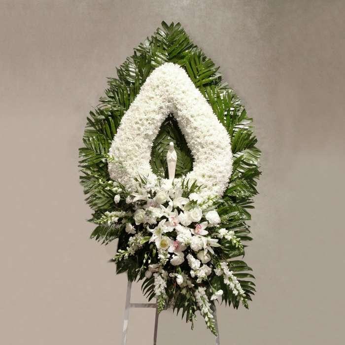 White Flower Teardrop with Madonna