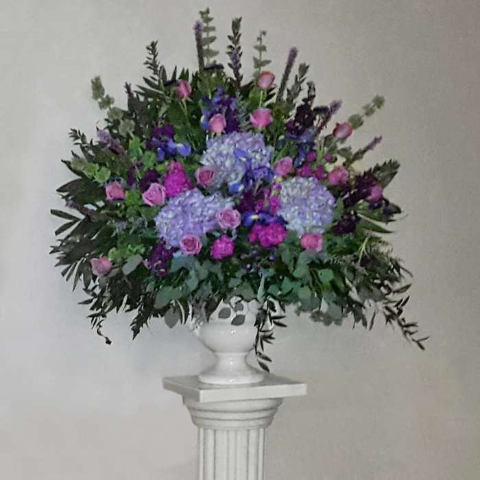 Purple/Blue Flower Mix End Vase