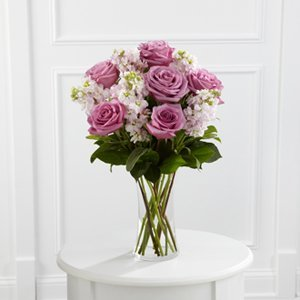 Lavender Roses with Pinks in a Vase