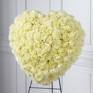 Solid White Rose Heart Easel (available in other Rose Colors)
