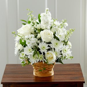 White Mixed Flower Basket