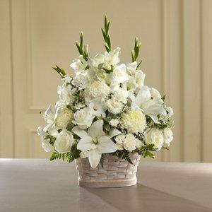 White Flower Mix in White Basket