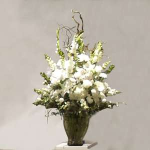 White Flower Mix Grecian Vase