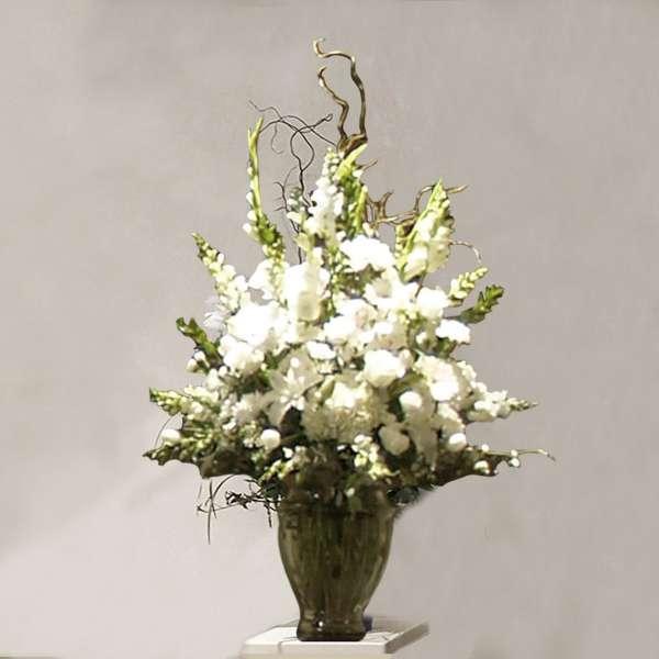 White Flower Mix Grecian Vase
